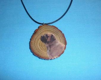 Bullmastiff Dog on Sassafras Tree Branch Slice Necklace, Handcrafted Wood Necklace, Adjustable for Men or Women, Rustic Wooden Gift
