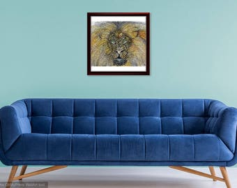 Wall art, Lion, Watercolor,Doodling