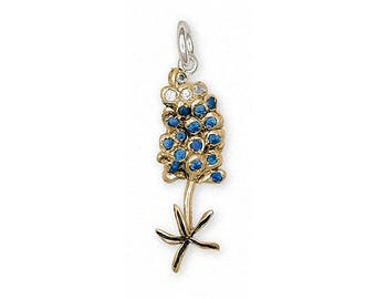 Bluebonnet Charm Jewelry 14k Gold Handmade Texas Wildflower Charm BB5-CG