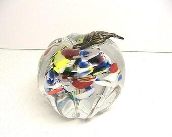 Glass Paperweight, Murano Glass Apple Paperweight