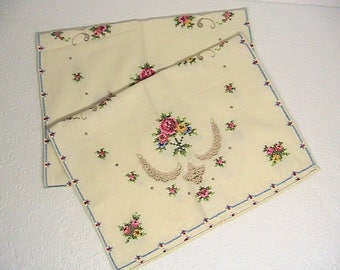 Doilies, Vintage Pair of Hand Embroidered Doily Scarves, Hand Hemmed, Cross Stitch Doilies