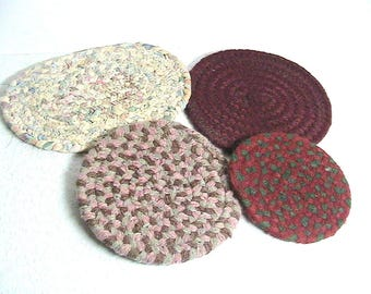 Rugs, Vintage Small Dollhouse Rugs, Rag Rug, Set of Small Rugs