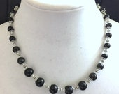 "Reserved for NDK: Black and silver necklace, Handmade 17.5"", Special Occasions Jewelry, Short Formal Classic Necklace"
