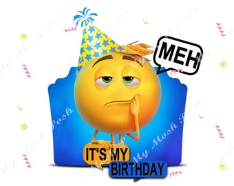Meh Emoji Birthday Digital Image