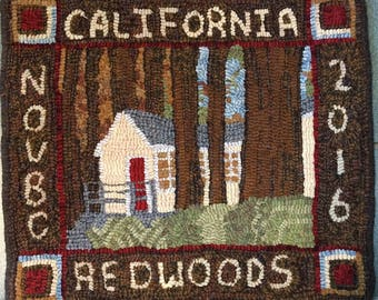 """Rug Hooking Pattern, Cabin in the Redwoods, 16"""" x 18""""  P150"""