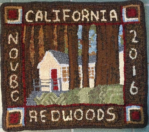 "Rug Hooking Pattern, Cabin in the Redwoods, 16"" x 18""  P150"
