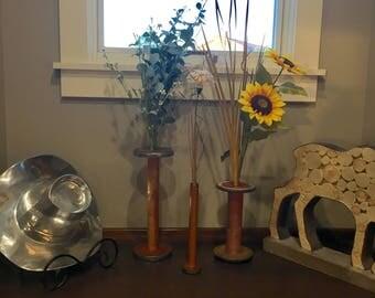 Rustic Flower Vase | Farmhouse Decor | Unique Decor | Antique Spools | Housewarming Gift