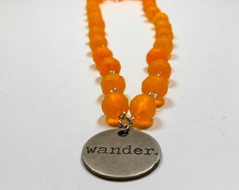 Tangerine Beaded Wander Tag Charm Necklace, Beaded Necklace, 16 inch, Bronze tag, Tangerine, Beaded Jewelry, Charm Necklace, Wander, Women,