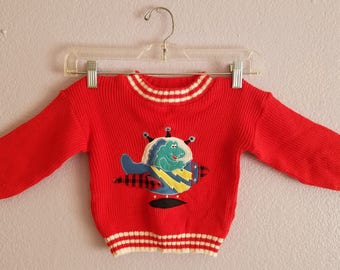 Dinosaur Spaceship Kids Child Boys Girls Baby Sweater Little by Little