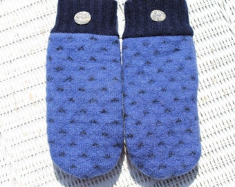 Wool sweater mittens lined with fleece with Lake Superior rock buttons in blue and black, Christmas gift, coworker gift, under 30 dollars