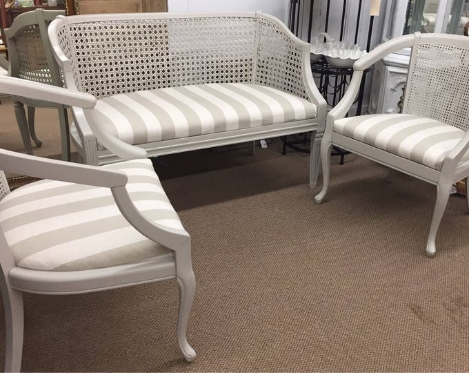 Vintage 3 piece wicker set with new upholstery