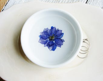 Nature Ring Dish, Jewelry Dish, Blue Flower Ring Dish, Ceramic Dish, Ring Holder, Small Jewelry Organizer, Trinket Tray