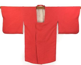 Vintage Kimono Jacket Michiyuki Japanese Cherry Red Silk Haori Kimono Gift for Her