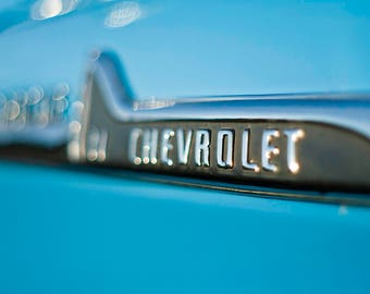 Chevrolet teal blue with chrome 4x6, 5x7, 8x10, and 11x14