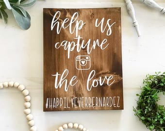 Help us capture the love / Wedding Sign / Wedding Decor / Hashtag sign / #Hashtag / Capture the Love