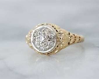 Vintage Cluster Engagement Ring | Antique Diamond Rings | Flower Blossom Dainty Filigree Ring | 14k Yellow Gold Promise Ring | Size 5
