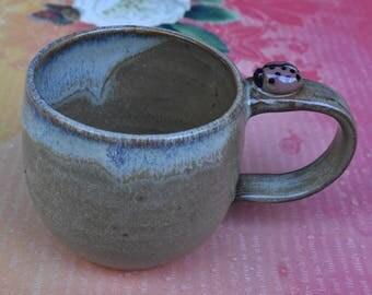 Ceramic coffee cup. Ladybug ceramic cup. Handmade espresso cup. Double espresso cup. Ladybug mug. Small Ladybug mug. Stoneware teacup.