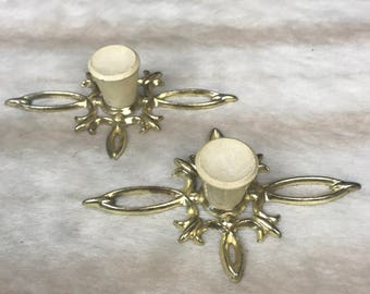 2 x Vintage retro handles in gold & cream