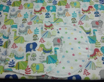 Dinosaurs and Cats with Colorful Star Backing Hemstitched Baby Blanket and Burps ready for you to crochet by Lindas Hemstitching