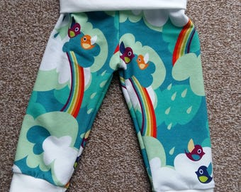 Rainbow birds fold over pants, size 6-9m