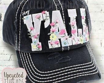 Distressed Hat, Distressed Cap Hat, Hey Y'all, Womens Hat, Gift For Her, Distressed Hats, Gift For Wife, Summer Hat, Floral Print