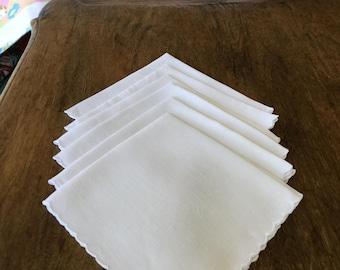 "Vintage white linen napkins, scalloped edges, embroidery, set of 6, 12 1/2"" square"