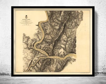 Old Map of Harpers Ferry West Virginia 1863
