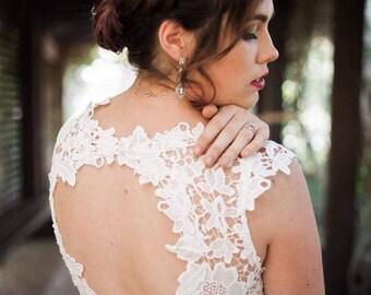 Size 12, white lace and chiffon beach wedding dress