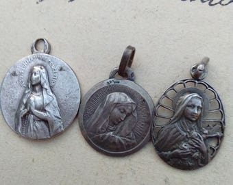 lot 3pcs rare French antique century religious medal stamped sterling silver our lady lourdes gothic virgin mary sacred heart Teresa
