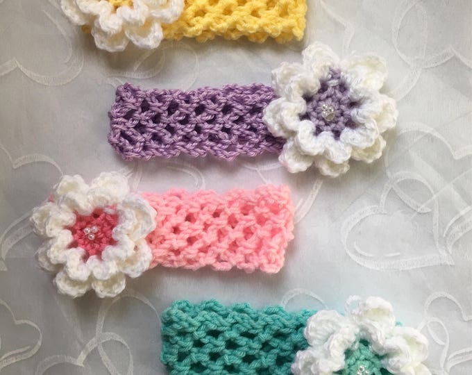 Crocheted Stretchy Flower Headbands-Baby Hairband-READY TO SHIP-Crocheted Flower Clip