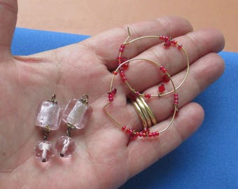 Lot Of Pink Glass Beaded Dangles Red Dangles On Hoops TLC