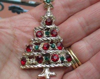 Vintage Christmas Tree Red Green Rhinestone Brooch Missing Green Rhinestone