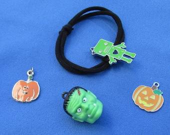 Retro Frankenstein Pumpkins Charms Pendants Plus Robot Hair Elastic