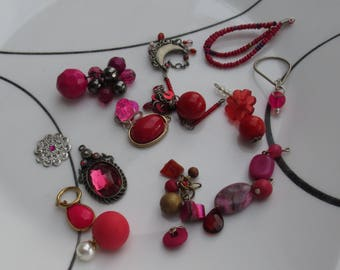 Lot Of Red & Fuchsia Colored Salvaged Pendants Beaded Dangles