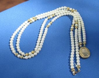 Vintage Two Strand White Faux Pearl Necklace Missing Cabochon On Clasp Restring Repurpose