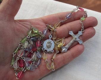 Retro Rainbow Beaded Rosary