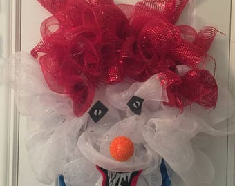 Creepy Clown Wreath, Halloween Wreath, Scary It Clown, Spooky, Mesh Wreath Free Ship