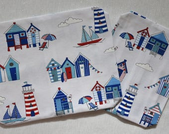 "Lingerie bag with zipper set 2pcs 11x9x1,5"" / 7x9x1,5""inch Beach House white red blue travel bag case"