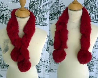 Wine red fur collar