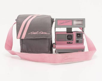 Polaroid 600 Cool Cam - Pink and Grey with Soft Camera Case - Film Tested and Working