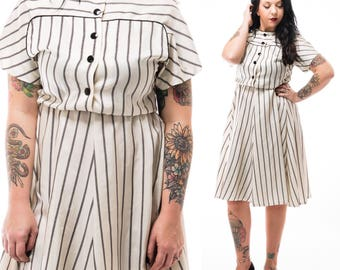 Vintage 60's Inspired Leslie Fay Striped Shirtwaist Midi Dress / Size Small