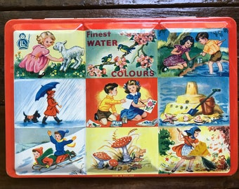 LL Product Finest Water Colours Paint Set ~ Four Seasons/Children Playing Litho Tin ~ Made in England ~ Vintage