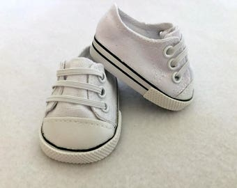 White Doll Sneakers - 15-18 Inch Dolls - Doll Tennis Shoes - White Doll Shoes - Doll Accessaries - Athletic Doll Shoes - Girls Toy