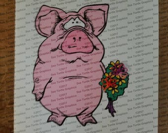 Tatted Notecards - I'm Sorry Pig