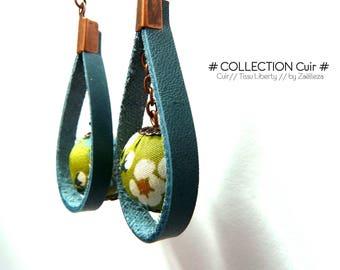 """Boucle d'oreille """"cuir bleu / perle en tissu vert Liberty ref128 - Nature Forêt Océan Fleuri Campagne Bohème London"""