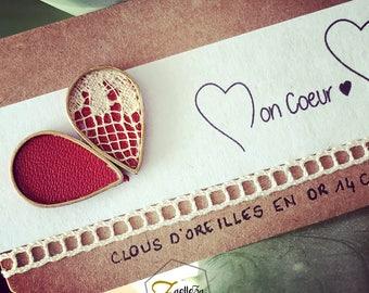 """Boucles d'oreille Clou or 14K /  Cadeau St Valentin / 2 gouttes asymétriques cuir rouge dentelle - modèle PLUIE - Coll.""""Mon Coeur Mon Amour"""""""