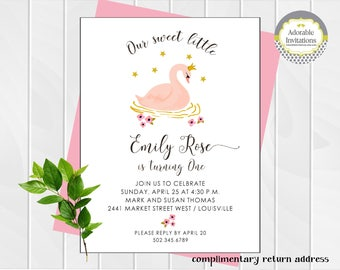 Charming and chic stationery for all by adorableinvitations girl birthday invitation swan birthday invitation birthday party invitation swan princess stopboris Gallery