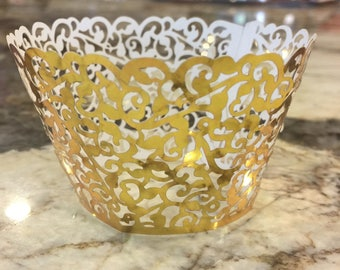 12 -Metallic Gold Cupcake Wrappers - wedding , shower