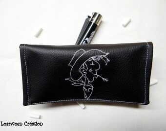 Personalized faux leather tobacco pouch.