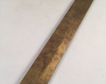 Heavy Soid Brass 12 Inch Ruler, Unique Brass Ruler, Collectible Piece, Rustic Brass 12 Inch Ruler